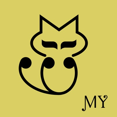 该logo卡通形象为一只简笔画的猫,其头部和身体分别为英文字母m和y的